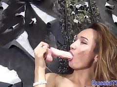 Russian shemale masturbating and ass dildoing