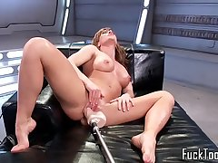 Machine babe dildo drilled on all fours