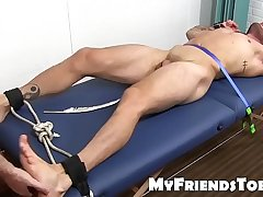 Gay pervert tickles and feet worships a tied up sub guy
