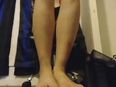 Goth Takes Off Heels and Stockings and Gives You A POV Foot Job