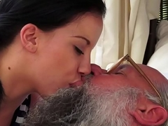 Tiny babe assfingered an old fart