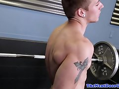 Hunky amateur jerking his cock in the gym