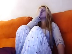 using my vibrator with my brother on the couch - watch more at www.camtasty.com