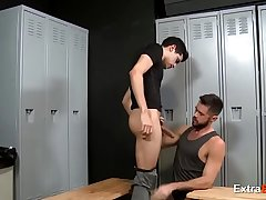 Awesome gay bang in the locker room