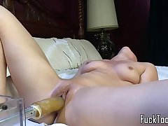 Cute lesbo shakes in machine induced orgasm