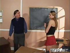 Sexy schoolgirl gets down on knees and gives sexy pov blowjob