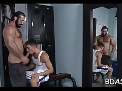 Gay chaps enduring anal sex in bedroom romance on cam
