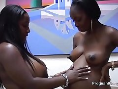 Ebony preggo lesbo sucks white dick