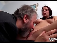 Horny young babe gives an old guy worthy blowjob and fucks
