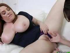 Natalie Porkman fingers her stepmoms tight milf pussy before fucking her with a strap on