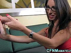 Glasses clad cfnm brunette