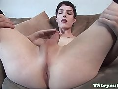 Trans beauty wanks her cock at casting