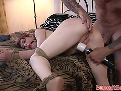 Teen redhead submits to doms huge cock